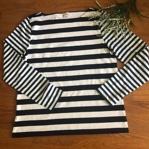 J. Crew Navy Striped Long Sleeved Top L